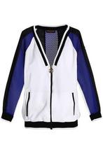 Roberto Cavalli   Roberto Cavalli Gym Woman Mesh-paneled Color-block Jersey Jacket White Size 48   Clouty
