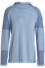 adidas | Adidas Woman Paneled Knitted Hooded Top Light Blue Size XL | Clouty