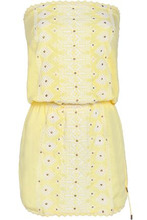 Melissa Odabash | Melissa Odabash Woman Dru Strapless Embroidered Voile Coverup Pastel Yellow Size M | Clouty