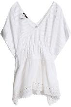 Roberto Cavalli | Roberto Cavalli Beachwear Woman Draped Open-knit Paneled Broderie Anglaise Chiffon Cover Up White Size L | Clouty