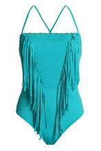JUST CAVALLI | Just Cavalli Beachwear Woman Fringe-trimmed Swimsuit Jade Size V | Clouty