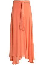 BOWER | Bower Woman Asymmetric Mousseline Wrap Skirt Pastel Orange Size M | Clouty