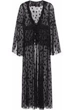 Anna Sui | Anna Sui Woman Ruffle-trimmed Embroidered Mesh Robe Black Size 4 | Clouty