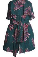 Vix By Paula Hermanny | Vix Paula Hermanny Woman Printed Layered Strapless Linen-blend Playsuit Emerald Size M | Clouty