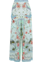 Camilla | Camilla Woman Embellished Printed Silk Wide-leg Pants Mint Size M | Clouty