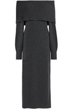 Theory | Theory Woman Off-the-shoulder Melange Merino Wool Midi Dress Charcoal Size M | Clouty