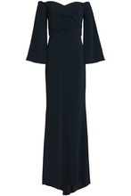 Badgley Mischka | Badgley Mischka Woman Off-the-shoulder Pleated Crepe Gown Midnight Blue Size 6 | Clouty