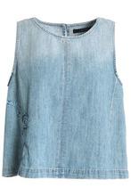 J Brand | J Brand Woman Talya Embroidered Faded Denim Top Light Denim Size L | Clouty