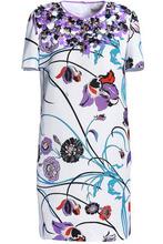 Emilio Pucci | Emilio Pucci Woman Embellished Floral-print Cotton-blend Faille Mini Dress White Size 42 | Clouty