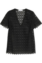 Sandro | Sandro Woman Scalloped Lace Top Black Size 3 | Clouty