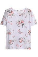 Monrow | Monrow Woman Floral-print Slub Jersey T-shirt Light Gray Size S | Clouty