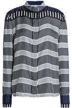 Diane Von Furstenberg | Diane Von Furstenberg Woman Striped Silk-twill Top Black Size 0 | Clouty