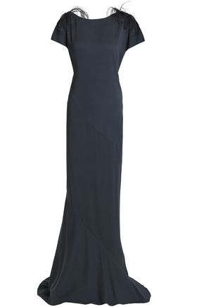 Brunello Cucinelli | Brunello Cucinelli Woman Feather-trimmed Embellished Crepe Gown Midnight Blue | Clouty
