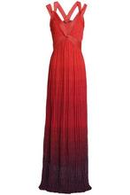 Roberto Cavalli   Roberto Cavalli Woman Pleated Metallic Degrade Knitted Gown Orange Size 46   Clouty