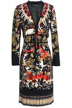 Roberto Cavalli   Roberto Cavalli Woman Velvet-trimmed Printed Crepe Dress Multicolor Size 46   Clouty