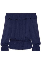 Michael Michael Kors | Michael Michael Kors Woman Off-the-shoulder Fil Coupe Crepon Top Navy Size XXS | Clouty