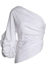 Petersyn   Petersyn Woman One-shoulder Ruched Cotton-poplin Top White Size XS   Clouty