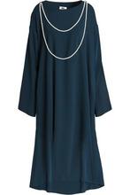 MM6 Maison Margiela   Mm6 By Maison Margiela Woman Faux Pearl-embellished Cady Dress Storm Blue Size 38   Clouty