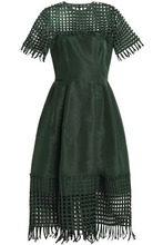 Oscar De La Renta | Oscar De La Renta Woman Net-paneled Pleated Duchesse Silk-satin Midi Dress Forest Green Size 6 | Clouty