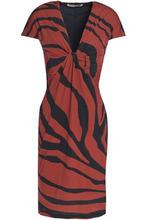 Roberto Cavalli   Roberto Cavalli Woman Twisted Zebra-print Stretch-jersey Dress Brick Size 38   Clouty