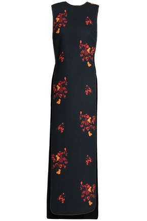 Ellery | Ellery Woman Cutout Floral-print Crepe Midi Dress Black | Clouty