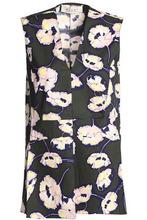 Marni | Marni Woman Floral-print Cotton-poplin Top Army Green Size 40 | Clouty