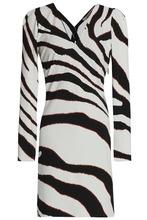 Roberto Cavalli | Roberto Cavalli Woman Cutout Zebra-print Stretch-jersey Mini Dress White Size 44 | Clouty