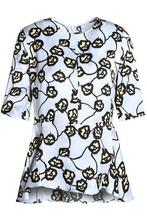 Marni | Marni Woman Floral-print Jacquard Peplum Top Sky Blue Size 46 | Clouty