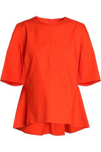 Marni | Marni Woman Pleated Cotton-poplin Peplum Top Bright Orange Size 40 | Clouty