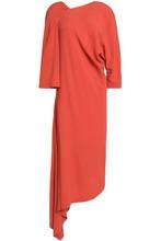 Chalayan   Chalayan Woman Asymmetric Draped Crepe Midi Dress Papaya Size 44   Clouty