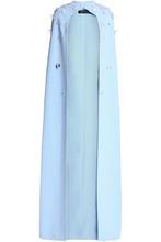 Safiyaa | Safiyaa Woman Appliqued Crepe Cape Sky Blue Size 42 | Clouty