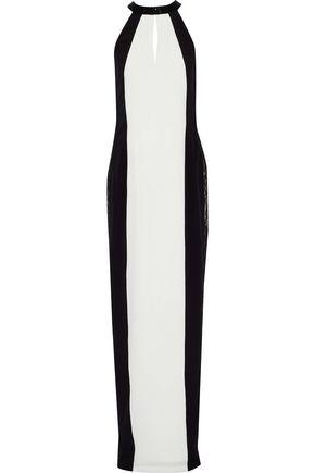 RACHEL GILBERT   Rachel Gilbert Woman Bettina Bead-embellished Lace-paneled Silk Gown Black   Clouty