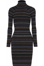 Milly   Milly Woman Striped Ribbed-knit Turtleneck Dress Charcoal Size L   Clouty