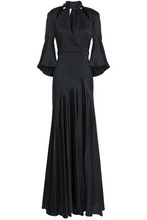 Temperley London   Temperley London Woman Fluted Cutout Satin-crepe Gown Black Size 12   Clouty
