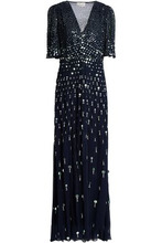 Temperley London   Temperley London Woman Topiary Embellished Voile Maxi Dress Midnight Blue Size 12   Clouty