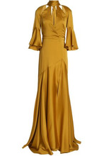 Temperley London   Temperley London Woman Fluted Cutout Satin-crepe Gown Mustard Size 8   Clouty
