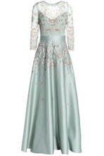 Temperley London   Temperley London Woman Embellished Embroidered Tulle And Duchesse Satin Gown Mint Size 12   Clouty