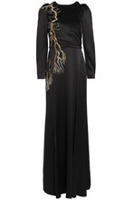 Temperley London   Temperley London Woman Sequin-embellished Satin-crepe Gown Black Size 8   Clouty