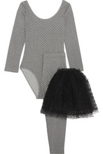 VALENTINO RED   Redvalentino Woman Cotton-blend Jersey And Swiss-dot Tulle Top, Leggings And Tutu Set Gray Size L   Clouty