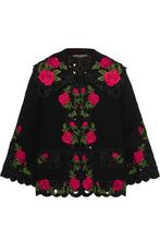 Dolce & Gabbana | Dolce & Gabbana Woman Embroidered Wool-blend Jacket Black Size 40 | Clouty
