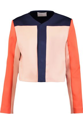 Solace London | Solace London Woman Andi Cropped Printed Satin-twill Jacket Storm Blue Size 10 | Clouty