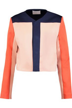 Solace London   Solace London Woman Andi Cropped Printed Satin-twill Jacket Storm Blue Size 10   Clouty
