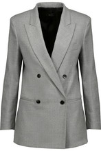 JOSEPH | Joseph Woman Heather Double-breasted Wool-blend Flannel Blazer Gray Size 40 | Clouty