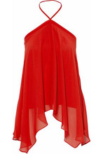 Alice + Olivia | Alice+olivia Woman Draped Georgette Halterneck Blouse Red Size M | Clouty