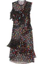 GIVENCHY | Givenchy Woman Ruffled Polka-dot Silk-chiffon Dress Black Size 40 | Clouty