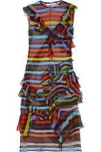 GIVENCHY | Givenchy Woman Ruffled Striped Silk-chiffon Dress Orange Size 34 | Clouty