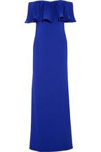 Badgley Mischka   Badgley Mischka Woman Off-the-shoulder Crepe Gown Indigo Size 8   Clouty