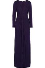 Badgley Mischka   Badgley Mischka Woman Twist-front Layered Crepe Gown Dark Purple Size 4   Clouty