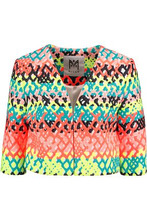 Milly | Milly Woman Cropped Jacquard Jacket Bright Orange Size L | Clouty