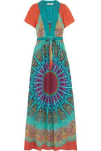 Etro | Etro Woman Printed Silk Crepe De Chine Maxi Dress Blue Size 38 | Clouty